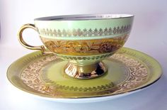 Vintage Bavaria CUP Saucer Yellow AND Gold 6771 Germany R W R Rudolph Wachter | eBay