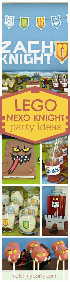 Check out this fantastic Lego Nexo Knight! The Book of Monsters Birthday cake is amazing!! See more party ideas and share yours at http://CatchMyParty.com