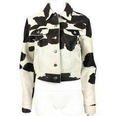Pre-owned Pony fur jacket with cow print (95.760 RUB) ❤ liked on Polyvore featuring outerwear, jackets, black, fendi, fur jacket, stand up collar jacket, fendi jacket and vintage jackets