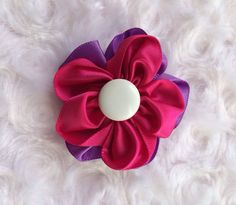 Pink and Purple Satin Flower Hair Clip ,Girls Hair Barrette, Flower Hair Clip, Alligator Clip, Hair Accessory, Girls Accessories, Headband Clip,  by BandsForBabes, $3.25