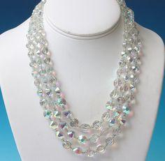 Hobe AB Crystal Three Strand Necklace Choker by PastSplendors