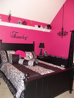 Pink and Black Teen Zebra Girls Bedroom-Aubrey's room...substitute turquoise for pink.