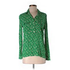 Pre-owned Gap Long Sleeve Blouse ($18) ❤ liked on Polyvore featuring tops, blouses, green, long sleeve tops, gap blouse, green blouse, green top and gap tops