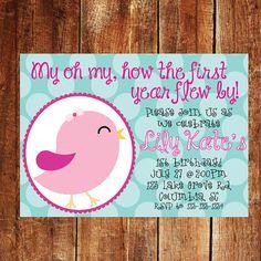 First Birthday Invitation - birds kids birthday invitation - first birthday girl - bird theme birthday via Etsy