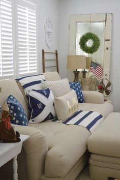 Cottage Living Room, Foxhollowcottage.com   Casual Home Decor With A  Patriotic, Nautical
