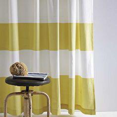 cotton striped curtain in citron