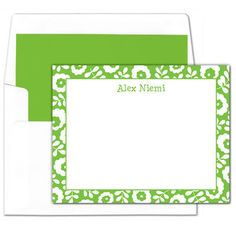 Green Flower Border Flat Note Cards