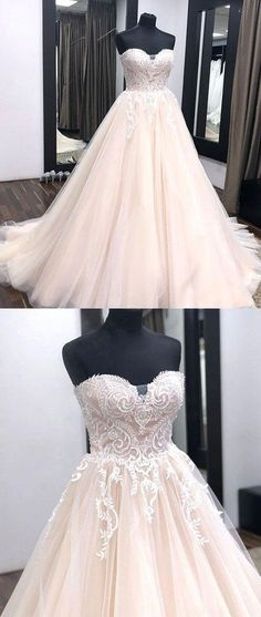 A line strapless tulle prom dress ,wedding dress