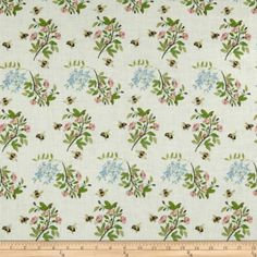 Telio Digital Linen Floral Bee Off White, Fabric by the Yard