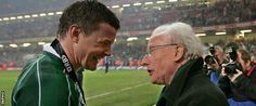 Brian O'Driscoll is congratulated by Jack Kyle after Ireland clinched the 2009 Grand Slam in Cardiff