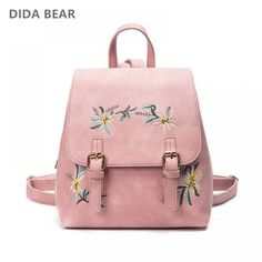 5f22cfe6a081 Women Leather Backpacks Female School bags for Girls Rucksack Small Floral  Embroidery Flowers Bagpack Mochila Price