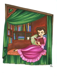 Just a girl and her books.. NYCC piece by Amy Mebberson