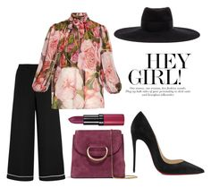 """""""GIRL, WHERE DO YOU THINK YOU'RE GOING"""" by illeniumqueen ❤ liked on Polyvore featuring Valentino, Dolce&Gabbana, Christian Louboutin, Little Liffner, Maison Michel, Rimmel, dolceandgabbana, hat, valentino and christianlouboutin"""