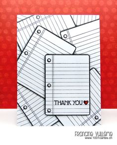 1001 cartes: Sunny Studio School Time Thank You card by Francine Vuilleme.