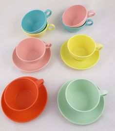 Vintage MALLO-WARE Set of Four Mugs and Saucers, With 4 Extra Mugs!