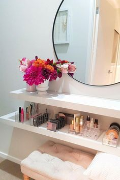 Makeovers on a budget: How 3 mums transformed their homes Possible way of integrating a dressing table into the ensuite. But would prefer a dedicated bench. Cute Room Decor, Room Decor Bedroom, Home Bedroom, Vanity Room, Diy Vanity, Vanity Ideas, Girl Bedroom Designs, Aesthetic Room Decor, Home Room Design