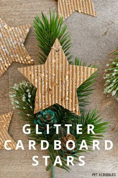 Glitter Cardboard Star Ornaments look stunning made with a unique glitter paint you will love! Simple DIY with just two supplies: cardboard stars and glitter paint! Christmas Banners, Christmas Party Decorations, Christmas Snowflakes, Christmas Star, Christmas Animals, Diy Christmas Ornaments, Christmas Holidays, Easy Ornaments, Star Ornament