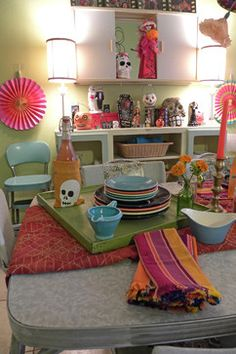 Dia De Los Muertos Design Ideas, Pictures, Remodel, and Decor - page 3 Halloween Party Drinks, Halloween Diy, Sugar Skull Decor, Kitchen Themes, Kitchen Ideas, Honfleur, Red Sofa, Restaurant, Play Houses