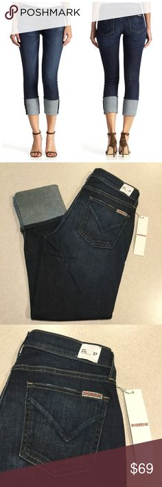 """Hudson Jean 27X25 Muse Crop Skinny Mosaic NWT! Hudson Jeans NEW WITH TAGS! The muse crop skinny, 5"""" cuff Dark mosaic wash Size 27 25 inch crop inseam A dark but vibrant blue with soft fading and distressing Perfect new condition, no flaws!   """"The Muse Crop Skinny features a 25"""" inseam with a 5"""" crop and is a mid rise fit. This dark wash denim looks great paired with heels or sandals and is perfect dressed up or down!""""  All of my items come from a smoke free, pet free home and are…"""