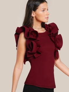 SheIn offers Exaggerate Ruffle Trim Top & more to fit your fashionable needs. Simple Kurti Designs, How To Wear Shirt, Sleeves Designs For Dresses, Indian Gowns Dresses, Camisa Formal, Western Dresses, Saree Blouse Designs, European Fashion, Pattern Fashion