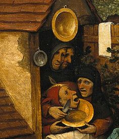 Pieter Bruegel the Elder, Detail from Netherlandish Proverbs, To shave the fool without lather, To trick somebody, Two fools under one hood, Stupidity loves company