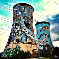 The iconic Orlando Towers captured by IG user McCulley ( Ellis McCulley) Fresco, Johannesburg Skyline, Visit South Africa, Amazing Street Art, Travel Oklahoma, Cool Art, Nice Art, Mural Painting, Street Art Graffiti