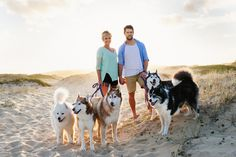 Beach engagement session with dogs - via Skipping Stone Photography
