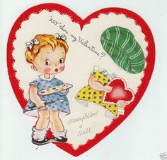 Girl Valentine Greeting Paper Doll Card RARE Vintage 1940s Heart A-meri-card