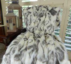 Ivory Faux Fur Throw Blanket & Bedspread - Rabbit Faux Fur - Ivory Gray Luxury Faux Fur - Fur Throw Grey Throw Blanket, Faux Fur Blanket, Fur Throw Pillows, Tibet, White Faux Fur Throw, Swatch, Most Comfortable Sheets, Fashion Room, Fur Fashion