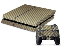 Eddie Internatioanl TM PS4 Console Designer Skin for Sony Playstation 4 Console System Plus Two 2 Decals For PS4 Dualshock Controller  carbon fibre Gold -- You can find more details by visiting the image link.Note:It is affiliate link to Amazon.
