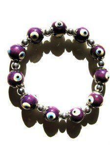 Strech Bracelet Purple Evil Eye Beads LMJ. $10.00