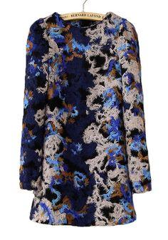Blue Floral Print Long Sleeve Wrap Wool Dress