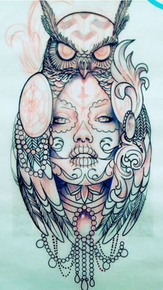 Ideas Tattoo Designs For Girls Sketches Day Of The Dead – Tattoo Sketches & Tattoo Drawings Owl Tattoo Design, Tattoo Design Drawings, Tattoo Sketches, Drawing Sketches, Mini Tattoos, Trendy Tattoos, Body Art Tattoos, Sleeve Tattoos, Circle Tattoos