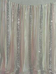 Pink Blush Silver Sequins Fabric Rag Garland by ChangesByNeci