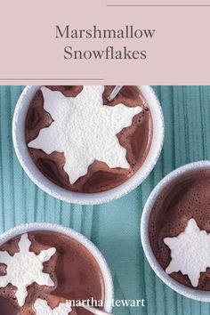 Float these snowflake-shaped marshmallows in cups of hot chocolate or a peppermint mocha this winter season for a sweet and easy marshmallow treat. Follow our simple recipe for marshmallow snowflakes along with other hot chocolate topping ideas. #marthastewart #recipes #winterrecipeideas #winterfoods #cozyrecipes