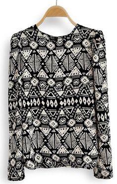 Black Long Sleeve Geometric Print Chiffon Blouse