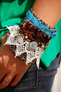 Boho Chic Fabric Cuff Multilayered Lace by raspberrypotpourri, $45.00