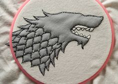 Game of Thrones - House Stark felt embroidery - NEEDLEWORK