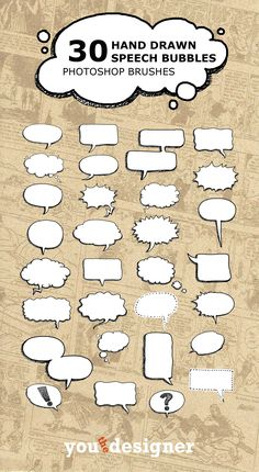 30 Hand Drawn Speech Bubble Photoshop Brushes – You The Designer Cs6 Photoshop, Photoshop Lessons, Photoshop Brushes, Photoshop Tutorial, Formation Management, Speech Balloon, Comic Tutorial, Drawing Tips, Graphic Design Inspiration