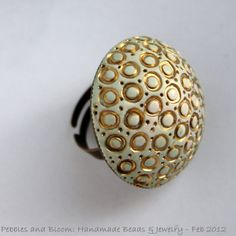 Beach Ring mint with golden shell inspired by pebblesandbloom