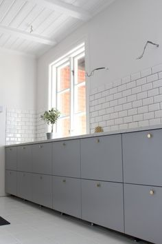 Ikea veddinge grey kitchen subway tiles