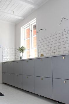 Ikea veddinge grey kitchen subway tiles