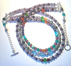 Misty Gemstone Multi Strand Necklace on Etsy, $40.00