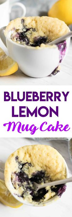Blueberry Lemon Mug Cake. Fluffy, moist cake ready in minutes and without all the clean up. Big juicy blueberries and refreshing lemon make this treat for one the best. #cake #mugcake #blueberrylemon #lemon #blueberry #dessert #sweettreat