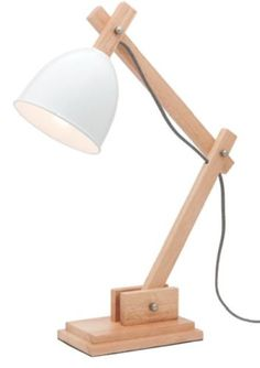 Timber Desk Lamp: Details about MERCATOR WINSTON TABLE LAMP DESK BEDSIDE TIMBER BASE WHITE  SHADE METAL A35011,Lighting