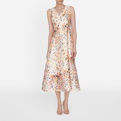 Rachel Floral Printed Dress, with the Fern Orange Suede Courts