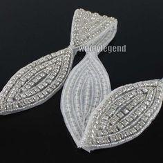 1 Yard Rhinestone Crystal Beaded Oval Trims Fashion Bridal Applique  Clothing  7269f77a40d3