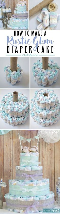 How to make a diaper cake. Also, a Rustic Glam Baby Shower with tons of inspirat. How to make a diaper cake. Also, a Rustic Glam Baby Shower with tons of inspiration pics. Baby Shower Cakes, Idee Baby Shower, Fiesta Baby Shower, Shower Bebe, Baby Shower Diapers, Baby Shower Favors, Baby Shower Parties, Baby Shower Themes, Baby Boy Shower