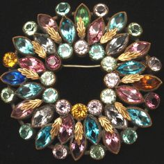 Multi-Colored Vintage Rhinestone Pin