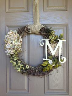 Monogram wreath with a cute burlap hanger.